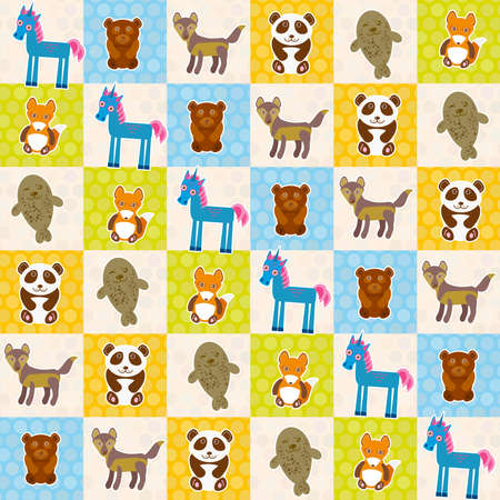 fur seal: Set of funny animals panda bear wolf fox fur seal unicorn seamless pattern. Polka dot background with green blue orange square. Vector illustration Illustration