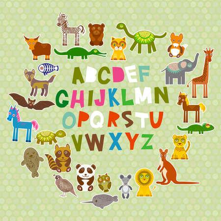leon bebe: alfabeto para los ni�os de la A a la Z. Conjunto de animales de dibujos animados divertido del personaje. zool�gico en verde lunares de fondo. Ilustraci�n vectorial Vectores