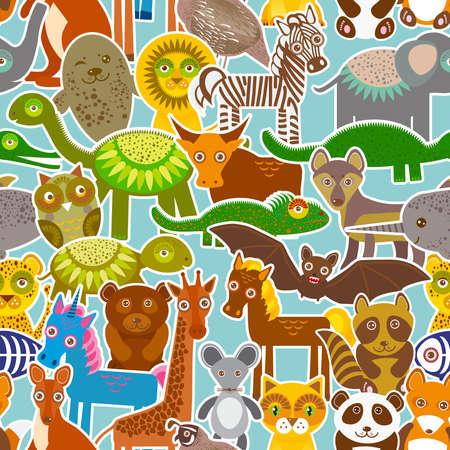 컬렉션 재미 만화 파란색 배경에 동물 원활한 패턴입니다. 벡터 일러스트 레이 션 일러스트
