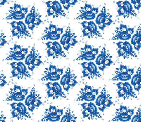 Vintage shabby Chic Seamless pattern with blue flowers and leaves. Vector.