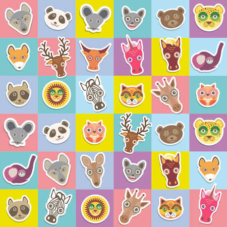 Set of funny animals muzzle seamless pattern with pink lilac blue yellow square. Vector illustration