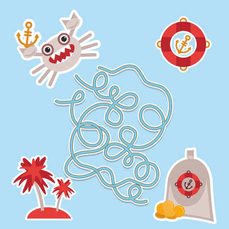 sea animals: sea animals, boats pirates. cute sea objects collection labyrinth game for Preschool Children. Vector illustration