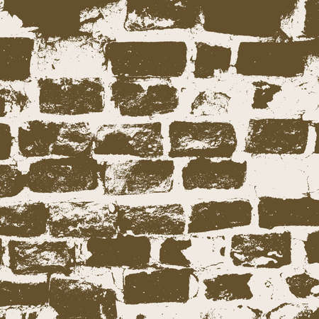 abstract background vector: Brickwork, brick wall of an old house, brown and white grunge texture, abstract background. Vector illustration