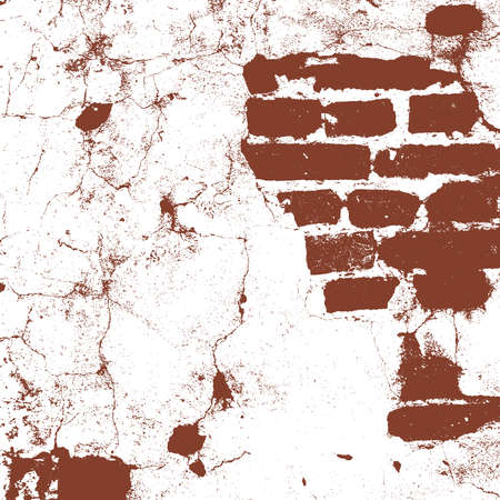 Brickwork, brick wall of an old house, brown and white grunge texture, abstract background. Vector illustration
