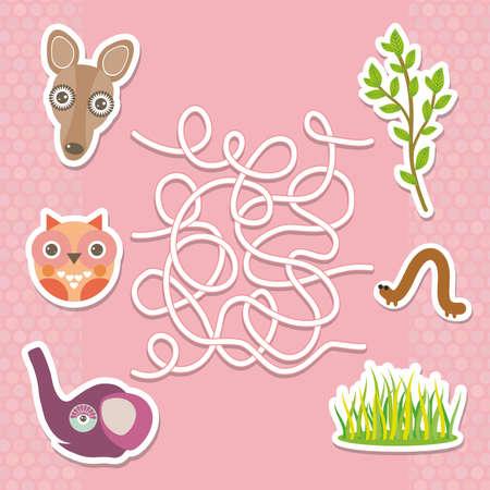 children illustration: Kangaroo owl elephant labyrinth game for Preschool Children. Vector illustration