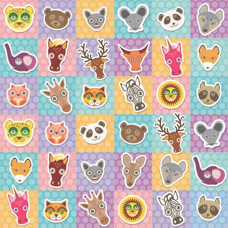 animales safari: Conjunto de animales divertidos hocico sin patrón, con Rosa lila cuadrado azul naranja. Ilustración vectorial