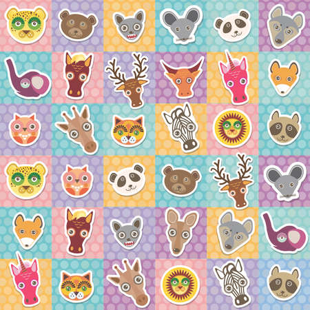 safari animals: Set of funny animals muzzle seamless pattern with pink lilac blue orange square. Vector illustration Illustration