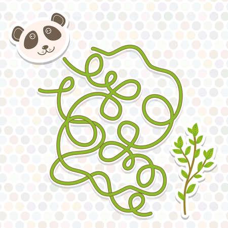 oso panda: juego de laberinto de la panda para niños en edad preescolar. Ilustración vectorial