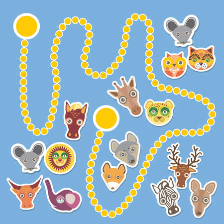 secret number: Funny cartoon animals game for Preschool Children. Vector illustration