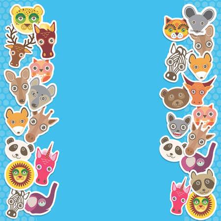 funny animal: Funny Animals plantilla tarjeta. fondo azul, plantilla para su dise�o. Ilustraci�n vectorial