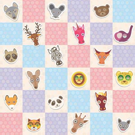 funny animal: Conjunto de animales divertidos hocico sin patr�n con lila rosa azul cuadrado. Ilustraci�n vectorial Vectores