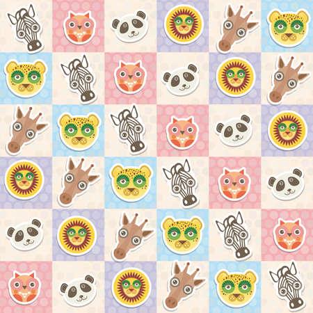 muzzle: Set of funny animals muzzle owl panda giraffe lion zebra leopard seamless pattern with pink lilac blue square. Vector illustration