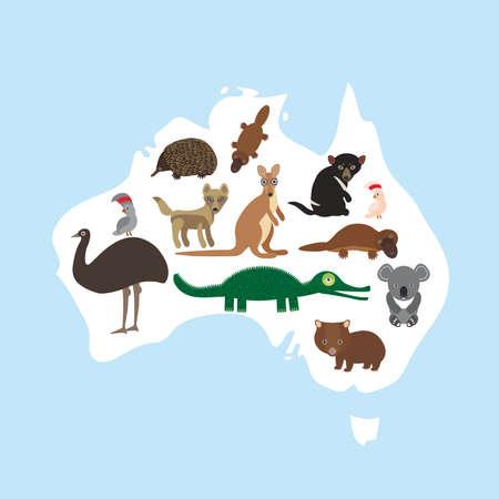 dingo: map of Australia. Echidna Platypus ostrich Emu Tasmanian devil Cockatoo parrot Wombat crocodile kangaroo dingo. Vector illustration Illustration