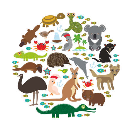 platypus: Animals Australia. Echidna Platypus ostrich Emu Tasmanian devil Cockatoo parrot Wombat snake turtle crocodile kangaroo dingo octopus fish. Vector illustration Illustration