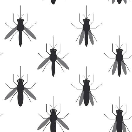 squashed: seamless pattern black silhouettes of mosquitoes Isolated on white background. Vector illustration