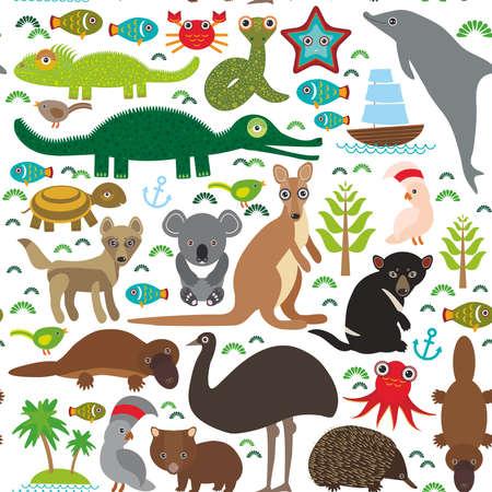 동물 호주 : 에키드나 오리너구리 타조 뮤 타스 메니아 악마 앵무새 앵무새 웜뱃 뱀 거북이 악어 캥거루 딩고 낙지 물고기. 흰색 배경에 원활한 패턴입