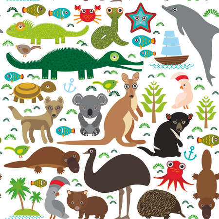 Animals Australia: Echidna Platypus ostrich Emu Tasmanian devil Cockatoo parrot Wombat snake turtle crocodile kangaroo dingo octopus fish.  Seamless pattern on white background.  Vector illustration Ilustração