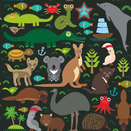 dingo: Animals Australia: Echidna Platypus ostrich Emu Tasmanian devil Cockatoo parrot Wombat snake turtle crocodile kangaroo dingo octopus fish.  Seamless pattern on dark background.  Vector illustration Illustration