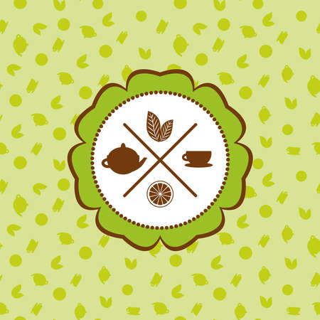 ceylon: tea icons set with lemon seamless pattern on green background. Vector illustration Illustration
