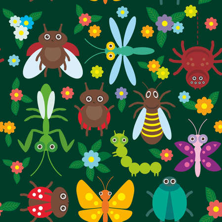mantis: Funny insects Spider butterfly caterpillar dragonfly mantis beetle wasp ladybugs seamless pattern on green background with flowers and leaves. Vector illustration Illustration