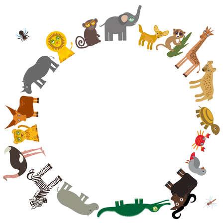 jirafa: Marco redondo para el texto Animal Africa: Loro Hiena Rinoceronte cebra Hippopotamus cocodrilo tortuga elefante mosquito camello serpiente mono lemur avestruz tsetsé Fennec zorro Leo Leopard Jirafa búfalos. Ilustración vectorial