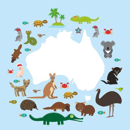 wombat: mapa de Australia. Echidna Platypus avestruz emú de Tasmania diablo Cockatoo serpiente Wombat loro tortuga cocodrilo canguro dingo pulpo pescado. Ilustración vectorial