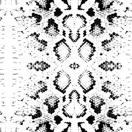 Seamless pattern Snake skin texture. black on white background. Vector illustration  イラスト・ベクター素材