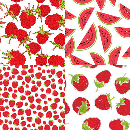 raspberry pink: Ripe red raspberry strawberry watermelon. Set of seamless pattern on a white background. Vector illustration