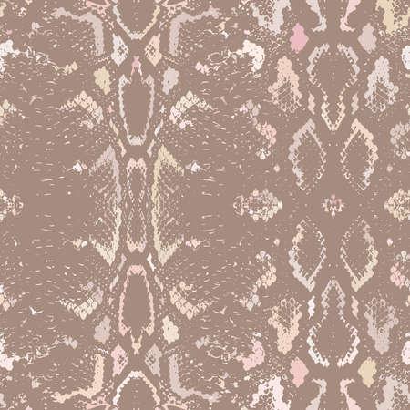 brown skin: Snake skin texture. Seamless pattern beige brown background. Vector illustration