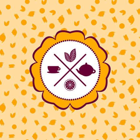 ceylon: tea icons set with lemon seamless pattern on orange background. Vector illustration