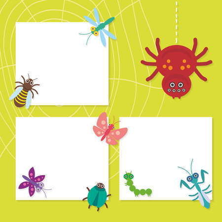 comic wasp: Funny insects set Spider butterfly caterpillar dragonfly mantis beetle wasp ladybugs card design on green background. Vector illustration