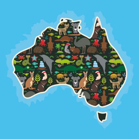 emu: map of Australia. Echidna Platypus ostrich Emu Tasmanian devil Cockatoo parrot Wombat snake turtle crocodile kangaroo dingo octopus fish. Vector illustration