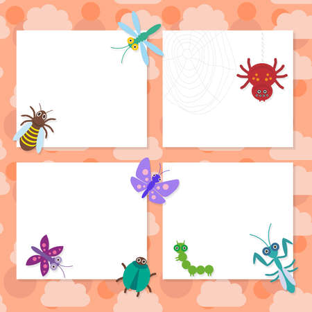 mantis: Funny insects set Spider butterfly caterpillar dragonfly mantis beetle wasp ladybugs card design on pink background. Vector illustration Illustration