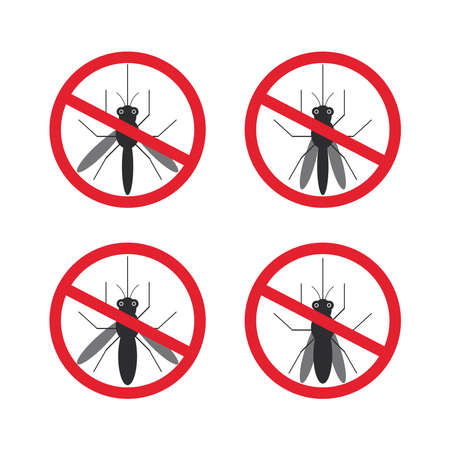 insect mosquito: stop mosquito sign black in red circle Isolated. Vector illustration