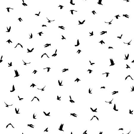 Doves and pigeons silhouette seamless pattern on white background for peace concept and wedding design. Vector illustration Illustration