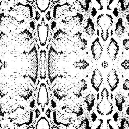 Snake skin texture. Seamless pattern black on white background. Vector illustration