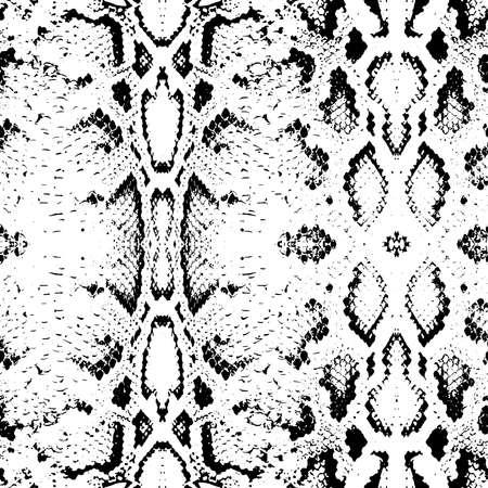 serpiente cobra: Textura de la piel de serpiente. Negro Patrón sin fisuras en el fondo blanco. Ilustración vectorial Vectores