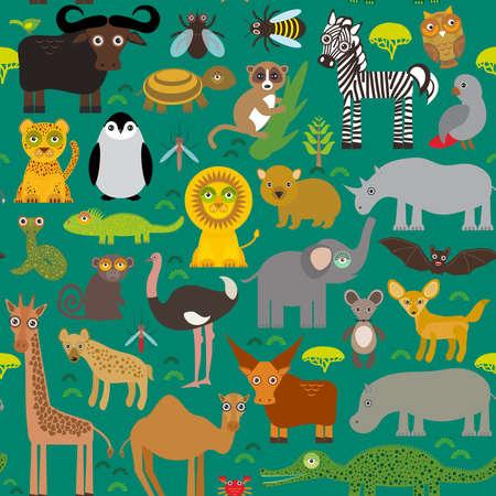 africa chameleon: Seamless pattern Animal Africa parrot Hyena Rhinoceros Zebra Hippopotamus Crocodile Turtle Elephant snake camel tsetse ostrich lemur Chameleon Monkey Fennec fox Leo Leopard Giraffe buffalo Penguin. Vector illustration