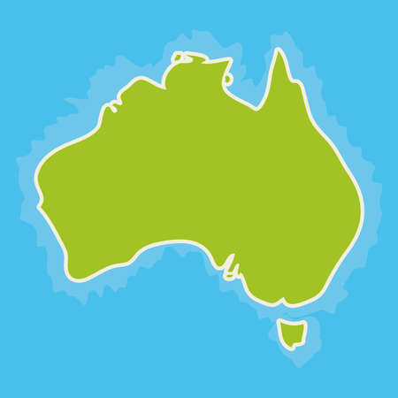 blue world map: map of Australia Continent and blue Indian Ocean. Vector illustration