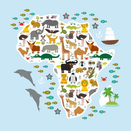 Animal Africa: parrot Hyena Rhinoceros Zebra Hippopotamus Crocodile Turtle Elephant Mamba snake camel mosquito tsetse ostrich lemur Chameleon Monkey Fennec fox Leo Leopard Giraffe buffalo Penguin. Vector illustration Illustration