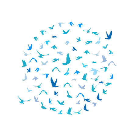 peace concept: Doves and pigeons set in a circle for peace concept and wedding design. Flying blue birds sketch set. Vector illustration