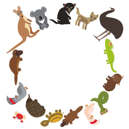 Round frame for text Animals Australia: Echidna Platypus ostrich Emu Tasmanian devil Cockatoo parrot Wombat snake Monitor lizard turtle kangaroo dingo. Vector illustration