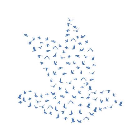 peace concept: Doves and pigeons set for peace concept and wedding design. Flying blue birds sketch set. Vector illustration Illustration