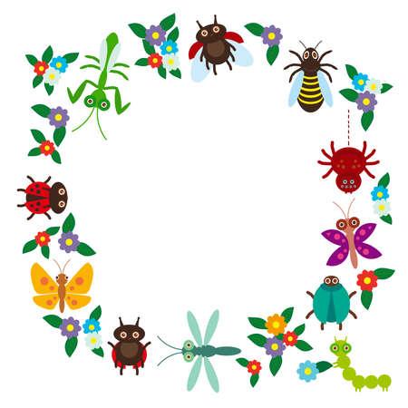 oruga: Insectos divertidos Araña mantis libélula mariposa escarabajo avispa mariquitas sobre fondo blanco. Ilustración vectorial