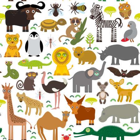 leo: Seamless pattern Animal Africa parrot Hyena Rhinoceros Zebra Hippopotamus Crocodile Turtle Elephant snake camel tsetse ostrich lemur Chameleon Monkey Fennec fox Leo Leopard Giraffe buffalo Penguin. Vector illustration