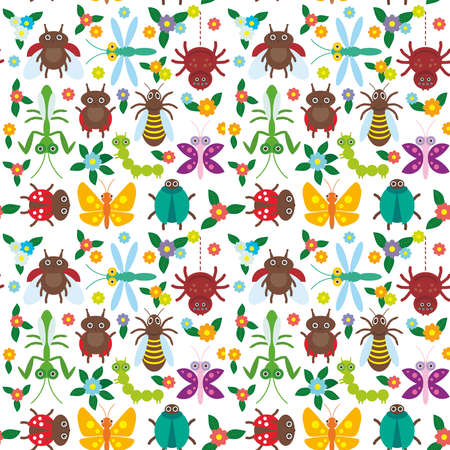 ladybug: Funny insects Spider butterfly caterpillar dragonfly mantis beetle wasp ladybugs seamless pattern on white background with flowers and leaves. Vector illustration