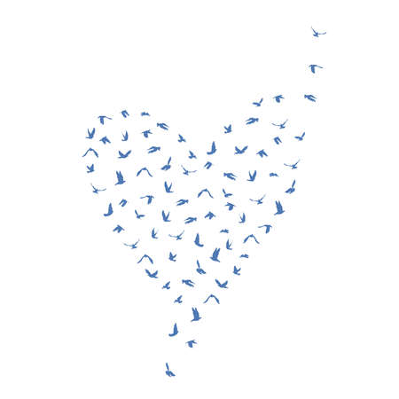 Doves and pigeons set heart shape for peace concept and wedding design. Flying blue birds set. Vector illustration Ilustração