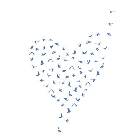 peace concept: Doves and pigeons set heart shape for peace concept and wedding design. Flying blue birds set. Vector illustration Illustration