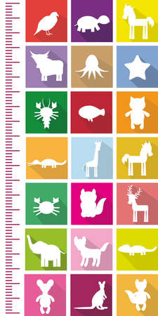 measure height: Bird Horse Turtle Octopus Fish cancer giraffe unicorn cat crocodile deer elephant wolf kangaroo white silhouettes on bright colored squares Children height meter wall sticker, kids measure. Vector illustration