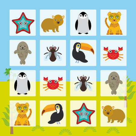 children crab: Starfish hamster Penguin leopard seal toucan crab fly Finding the Same Picture Educational game for Preschool Children. Vector illustration Illustration